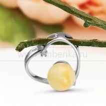 """Кулон """"Сердце"""" из серебра 925 пробы, украшенный природным янтарем"""