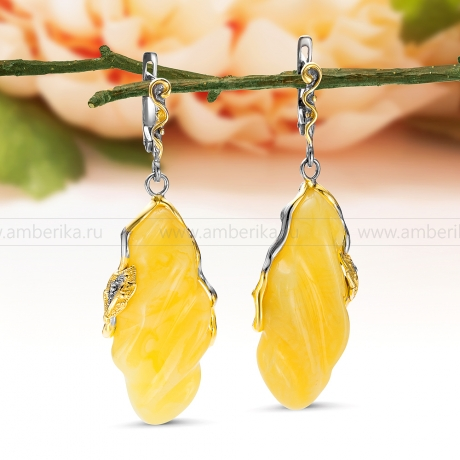 Серьги из серебра 925 пробы, украшенные лимонным янтарем