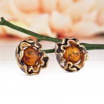 """Серьги """"Хризантема"""" из серебра 925 пробы, украшенные природным янтарем"""
