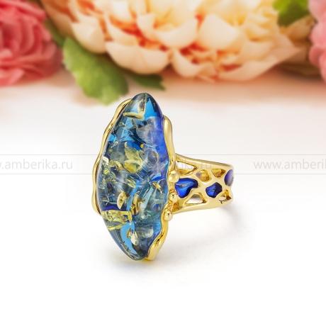 Кольцо из серебра с синим балтийским янтарем