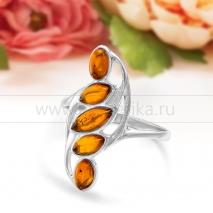 Кольцо из серебра с природным балтийским янтарем Амина