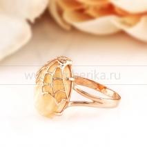 """Кольцо """"Летучая мышь"""" из золота с природным балтийским янтарем"""