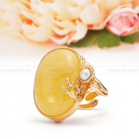 Кольцо из серебра с лимонным балтийским янтарем