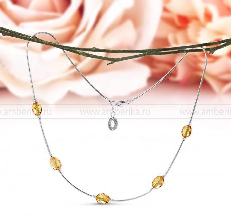 Цепочка из серебра 925 пробы, украшенная золотистым природным янтарем