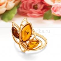 Кольцо из серебра с природным балтийским янтарем Алла