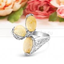 """Кольцо """"Фаберже"""" из серебра с янтарем цвета слоновой кости"""