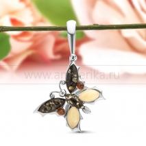 """Кулон """"Бабочки"""" из серебра 925 пробы, украшенный янтарем """"микс"""""""