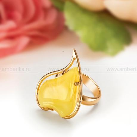 Кольцо из серебра с природным лимонным балтийским янтарем