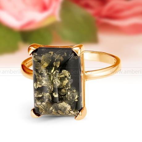 Кольцо из серебра с зеленым природным балтийским янтарем