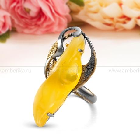 Кольцо из серебра с лимонным природным балтийским янтарем