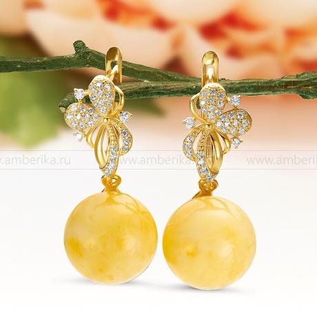 Серьги из серебра 925 пробы, украшенные лимонным природным янтарем