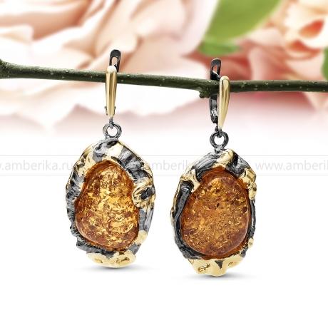 Серьги из серебра 925 пробы, украшенные природным янтарем