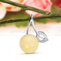 """Кулон """"Ягодка"""" из серебра 925 пробы, украшенный природным янтарем"""