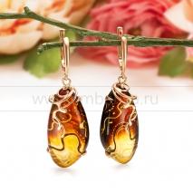 """Серьги """"Вираж"""" из золота 585 пробы, украшенные природным янтарем"""