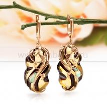 """Серьги """"Нифертити"""" из золота 585 пробы, украшенные природным янтарем"""