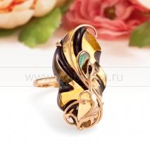 "Кольцо ""Нефертити"" из золота 585 пробы с Балтийским янтарем"