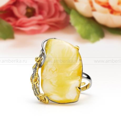Кольцо из серебра 925 пробы с лимонным балтийским янтарем