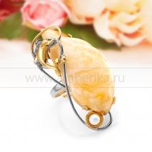 """Кольцо """"Дельфин"""" из серебра с природным балтийским янтарем"""