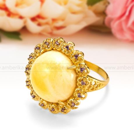 Кольцо из серебра 925 пробы с лимонным природным балтийским янтарем