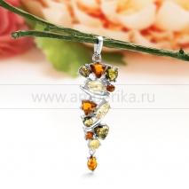 "Кулон ""Кокетка"" из серебра с природным балтийским янтарем. Артикул 11661"