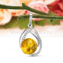 Кулон из серебра 925 пробы с золотистым природным балтийским янтарем