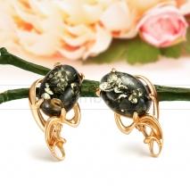 Серьги из серебра, украшенные природным янтарем