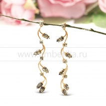 Серьги из серебра с позолотой, украшенные природным янтарем