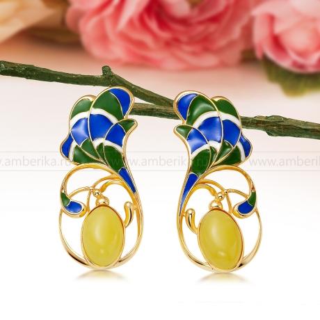 Серьги из серебра с золотым покрытием, украшенные лимонным янтарем