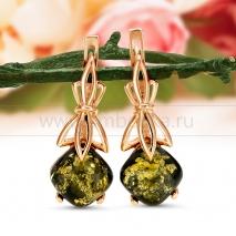 Серьги из серебра, украшенные зеленым балтийским янтарем