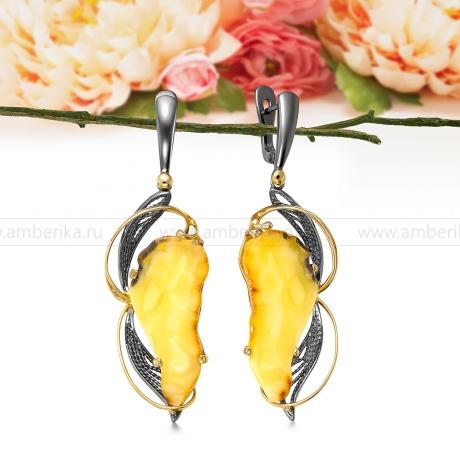 Серьги из серебра с лимонным балтийским янтарем