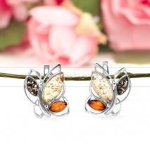 """Серьги """"Бабочки"""" из серебра, украшенные природным янтарем"""