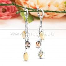 """Серьги """"Фаберже"""" из серебра, украшенные природным янтарем"""