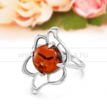 Кольцо из серебра с природным балтийским янтарем Инна