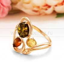 """Кольцо из серебра с природным балтийским янтарем цвета """"микс"""""""