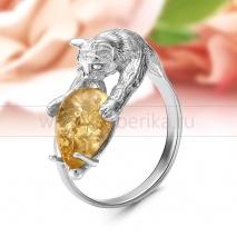 """Кольцо """"Снежный Барс"""" из серебра с лимонным балтийским янтарем"""