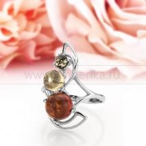 Кольцо из серебра с природным балтийским янтарем Милана