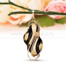 "Кулон ""Ночь"" из золота с балтийским янтарем"