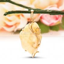 """Кулон """"Шик"""" из золота с балтийским янтарем"""