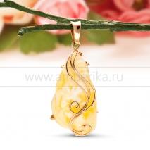 """Кулон """"Мечта принцессы"""" из золота с балтийским янтарем"""