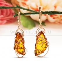 Серьги из золота с природным балтийским янтарем