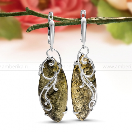 Серьги из серебра с природным балтийским янтарем