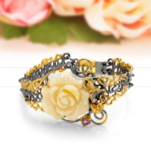 """Браслет """"Роза"""" из натурального балтийского янтаря в серебре"""