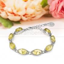 Браслет из натурального лимонного балтийского янтаря в серебре