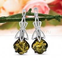Серьги из серебра 925 пробы с зеленым балтийским янтарем