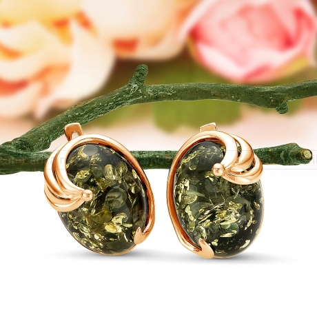 Серьги из серебра с зеленым природным балтийским янтарем