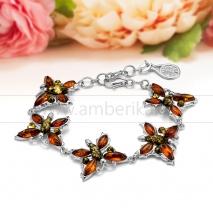 """Браслет """"Бабочки"""" из натурального балтийского янтаря """"микс"""" в серебре"""