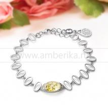 Браслет из натурального балтийского лимонного янтаря в серебре