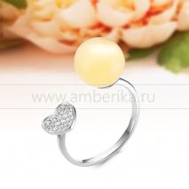"""Кольцо """"Диор"""" из серебра с балтийским янтарем"""
