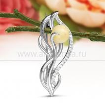 Брошь с природным балтийским янтарем