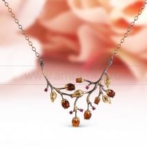"""Колье """"Тюльпаны"""" из серебра 925 пробы, украшенное коньячным янтарем"""